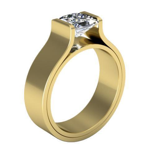Tension Set Style Princess Solitaire Flat Engagement Ring Solitaire Engagement Rings deBebians