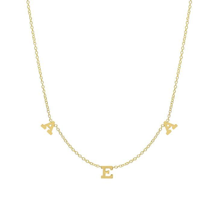 Three Letter Pendant Necklace in Gold Personalized Necklaces deBebians