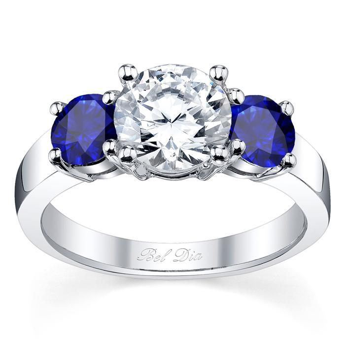 Blue Sapphire Three Stone Engagement Ring with Matching Band