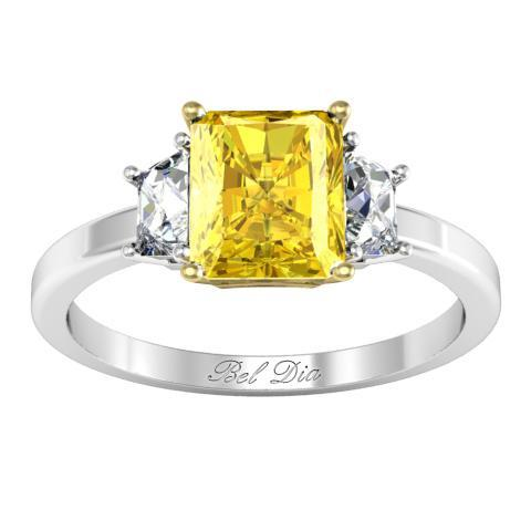 Three Stone Radiant Yellow Diamond Engagement Ring Yellow Diamond Engagement Rings deBebians