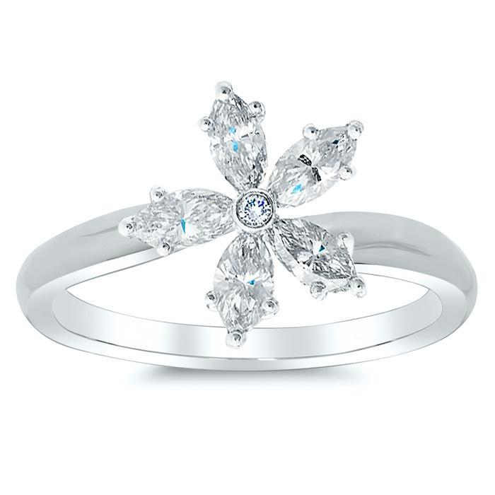 Tilted Marquise Diamond Flower Ring Gift Ideas Under $500 deBebians