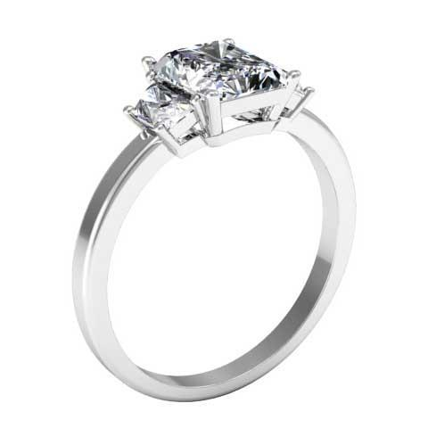 Trapezoid Three Stone Engagement Ring for Radiant Diamond Diamond Accented Engagement Rings deBebians