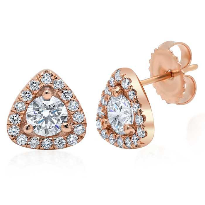 Triangular Diamond Halo Earrings Diamond Halo Earrings deBebians