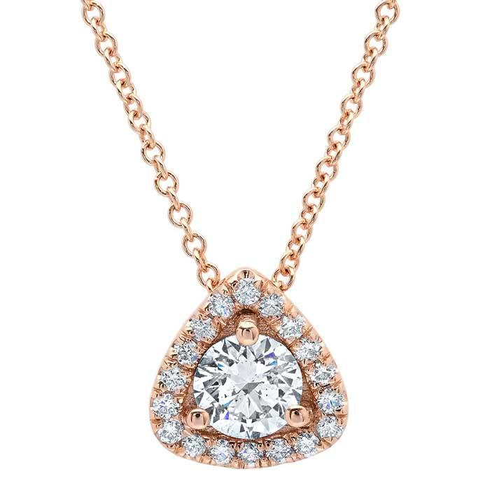 Triangular Halo Diamond Pendant Diamond Necklaces deBebians