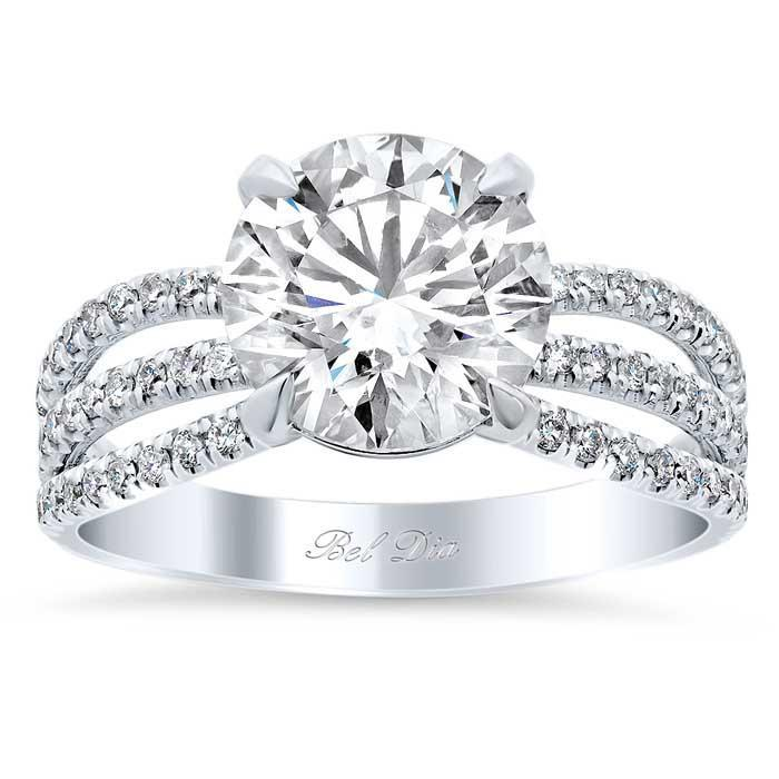 Triple Shank Pave Diamond Engagement Ring Diamond Accented Engagement Rings deBebians