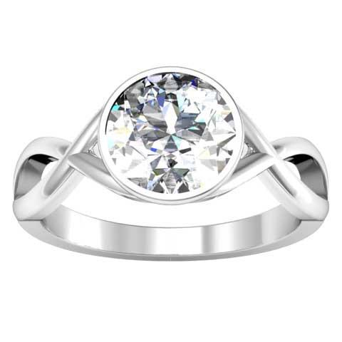 Twisted Bezel Set Solitaire Engagement Ring Solitaire Engagement Rings deBebians
