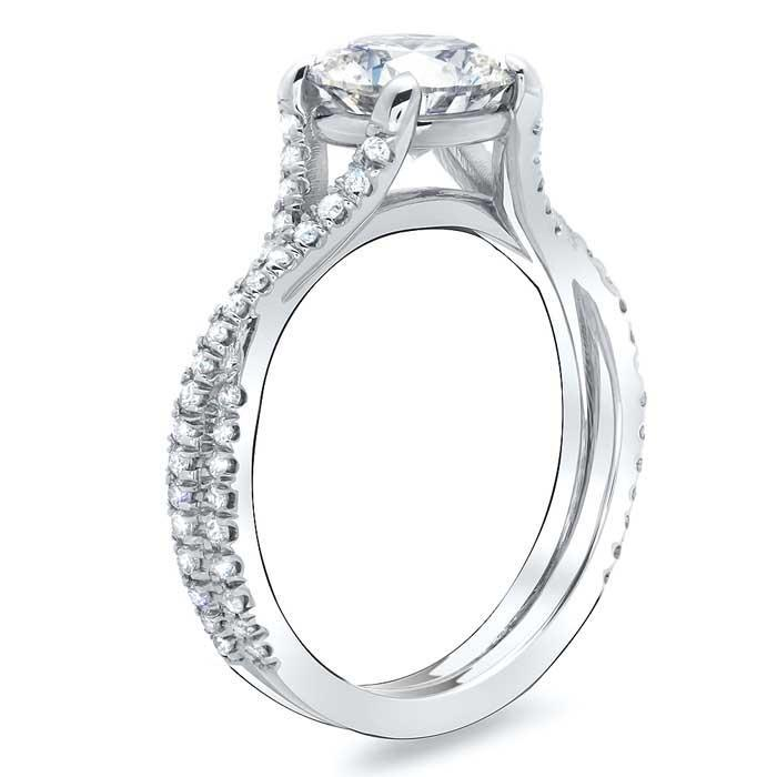 Twisted Double Shank Engagement Ring Diamond Accented Engagement Rings deBebians