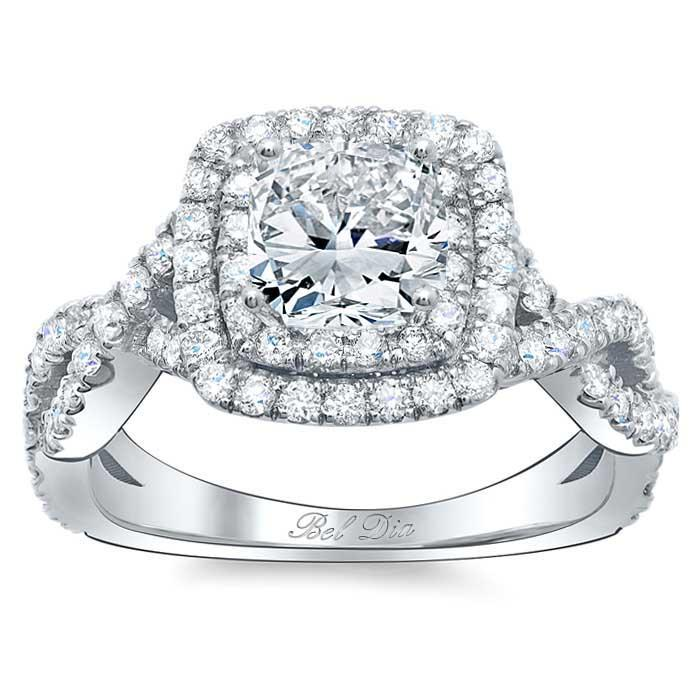 Two Tone Twisted Shank Double Halo Engagement Ring