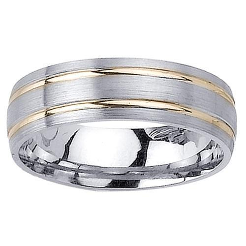 Two Tone Wedding Ring with Comfort Fit in 6.5mm 14kt Gold for Men Unique Wedding Rings deBebians