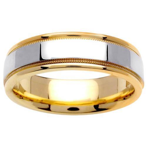 Two Tone Ring with Comfort Fit in 6.5mm 14kt Gold for Men