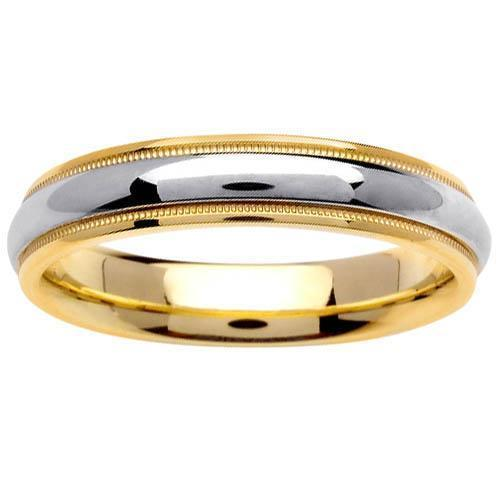Two Tone Ring 4.5mm 14kt Gold for Men or Women Unique Wedding Rings deBebians