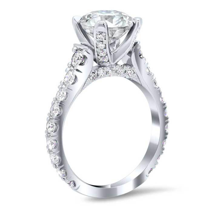 U-Pave Diamond Accented Engagement Ring with Pave Bridge and Prongs Diamond Accented Engagement Rings deBebians