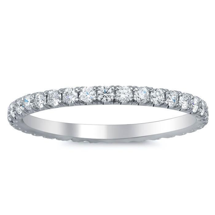 1.40cttw Round Bezel Diamond & Marquise Eternity Band
