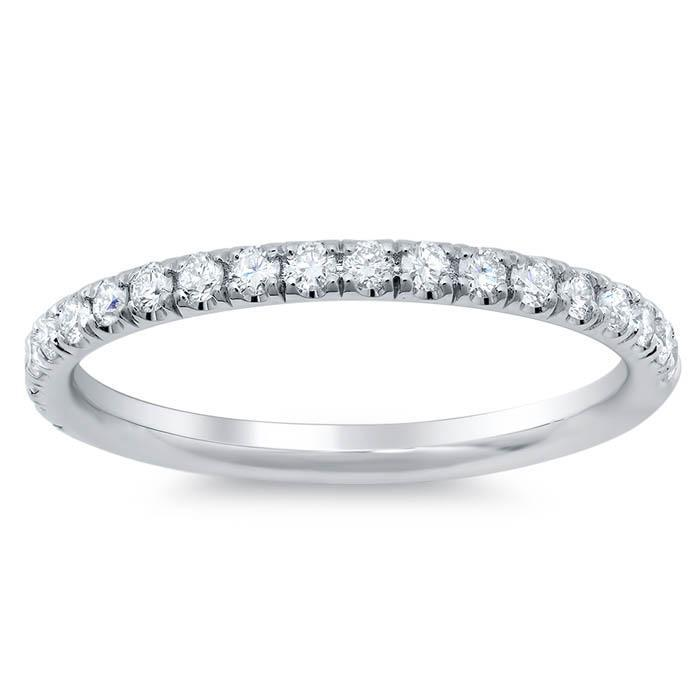 Pave Half Round Diamond Eternity Rings Milgrain