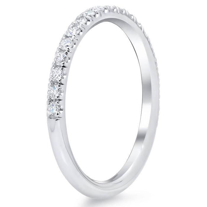 U Pave Diamond Wedding Band Half Eternity Rings deBebians