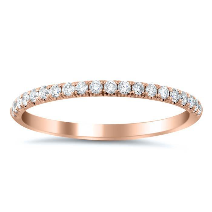 U-Pave Wedding Ring with Diamonds Half Eternity Rings deBebians