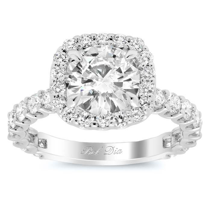 U-Prong Halo Engagement Ring