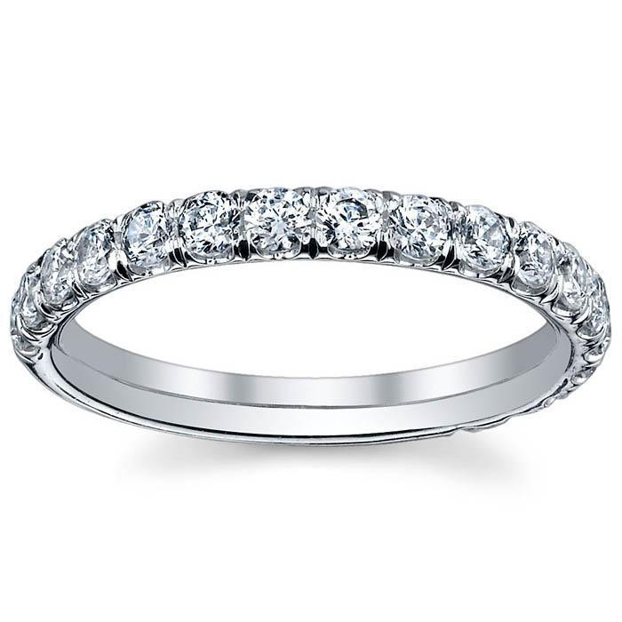 Single Row Micro Pave Diamond Eternity Band - 1.00 carat - SI Clarity Diamond Eternity Rings deBebians