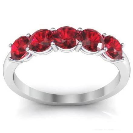 Unique Ruby Engagement Ring Five AA Round Cut Rubies