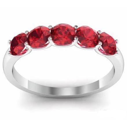 1.00cttw U Prong Ruby Five Stone Band Five Stone Rings deBebians