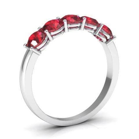 1.00cttw Shared Prong Ruby Five Stone Ring Five Stone Rings deBebians