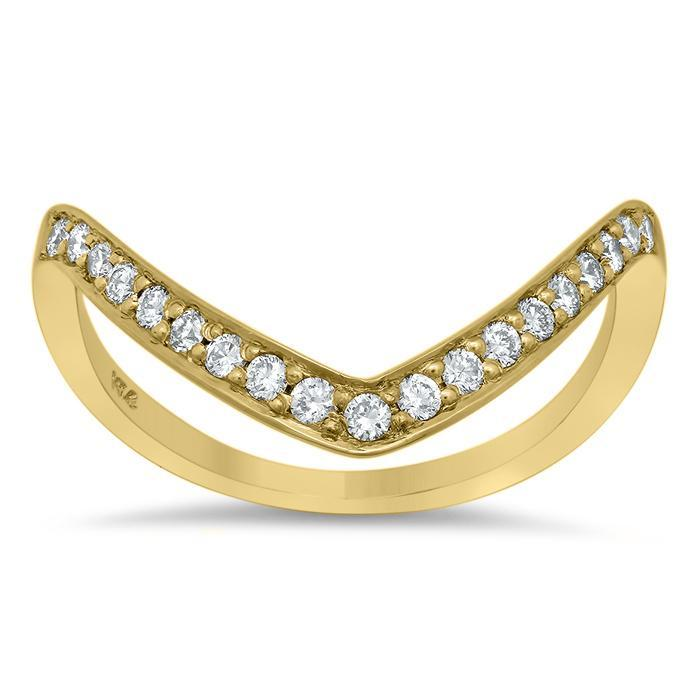 V-Shaped Pave Diamond Ring Diamond Wedding Rings deBebians