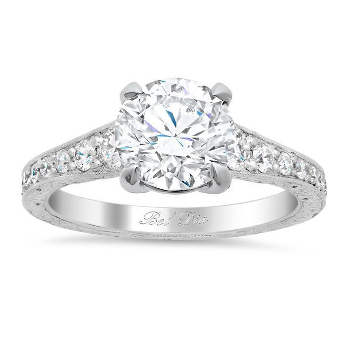 Vintage Style Hand Engraved Diamond Engagement Ring Diamond Accented Engagement Rings deBebians