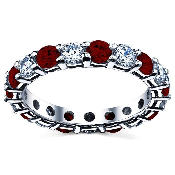 Wedding Eternity Band with Diamond and Garnet Gemstone Eternity Rings deBebians