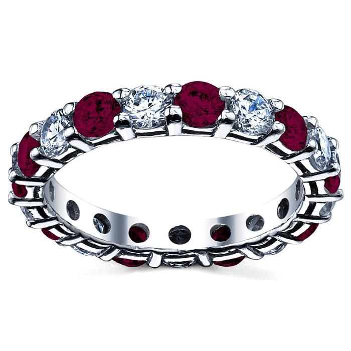 Wedding Eternity Ring with Garnet and Diamond Gemstone Eternity Rings deBebians