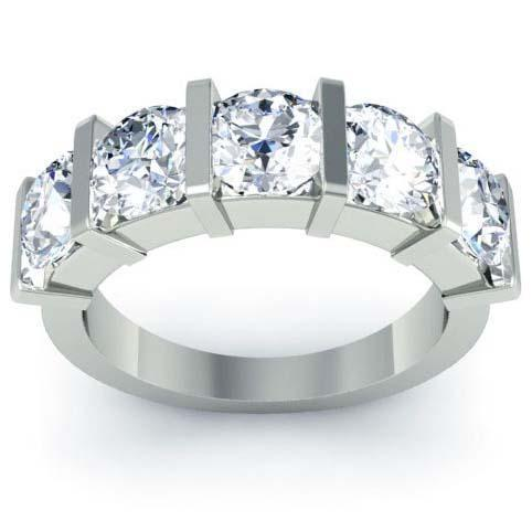 3.00cttw Bar Set Round Cut GIA Certified Diamond Five Stone Ring Five Stone Rings deBebians