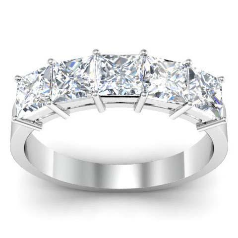 3.00cttw Shared Prong Princess Cut GIA Certified Diamond Five Stone Ring