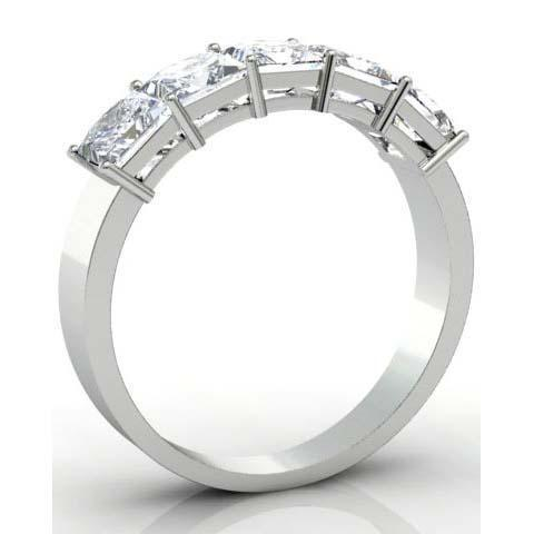 2.00cttw Shared Prong Princess Cut GIA Certified Diamond Five Stone Ring Five Stone Rings deBebians
