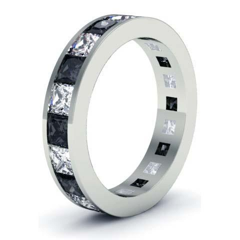 White and Black Diamond Eternity Wedding Band Gemstone Eternity Rings deBebians