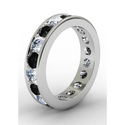 White and Black Diamond Round Gemstone Eternity Band in Channel Setting
