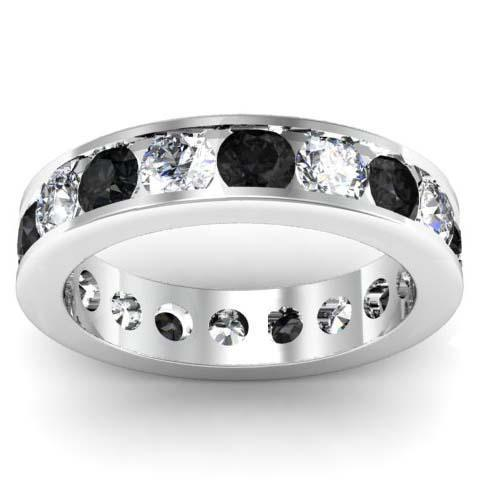 White and Black Diamond Round Gemstone Eternity Ring in Channel Setting
