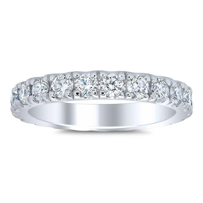 Women's Eternity Band 3mm Forever One Moissanite U Pave Moissanite Wedding Rings deBebians