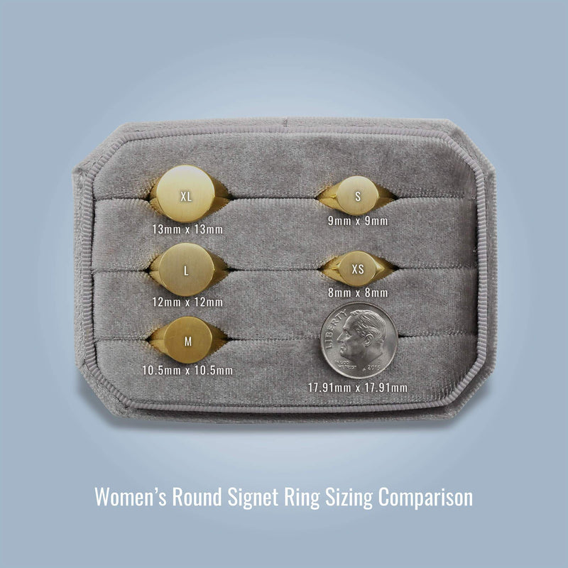 Women's Round Signet Ring - Large Signet Rings deBebians