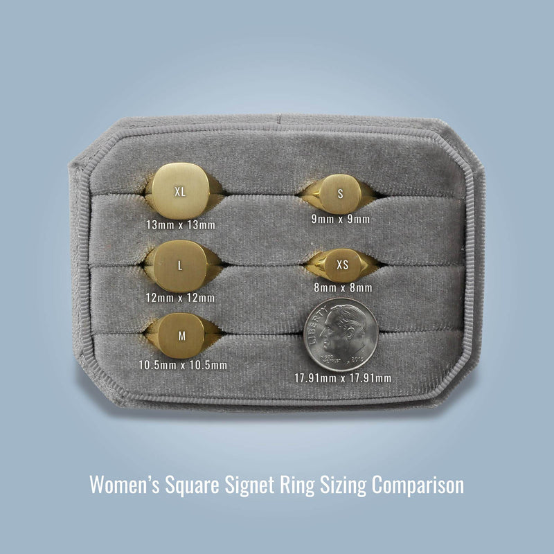 Women's Square Signet Ring - Extra Small Signet Rings deBebians