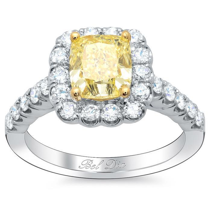 Yellow Diamond Cushion Halo Engagement Ring Yellow Diamond Engagement Rings deBebians
