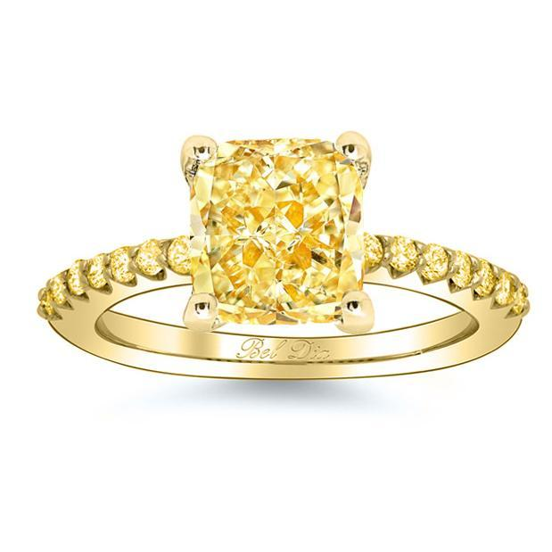 Yellow Diamond Engagement Ring with Yellow Diamond Accents Yellow Diamond Engagement Rings deBebians