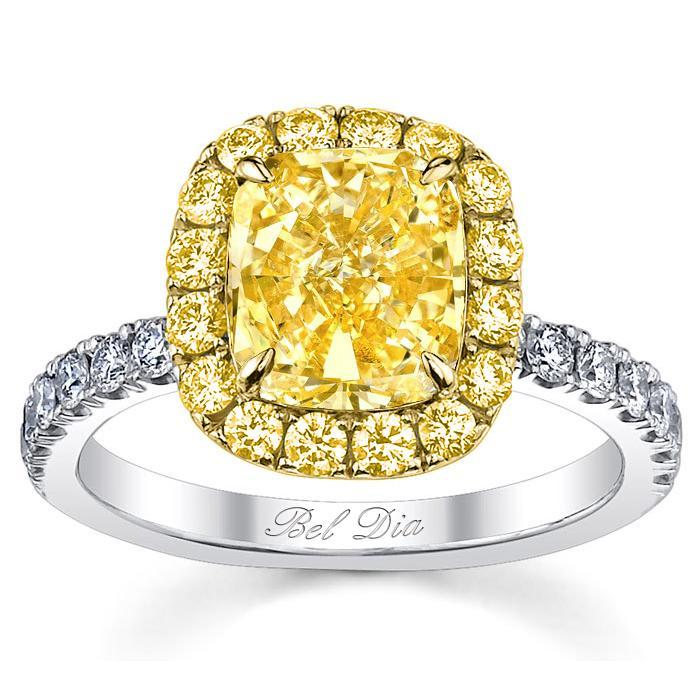 Yellow Diamond Halo Engagement Ring for Canary Diamond Yellow Diamond Engagement Rings deBebians