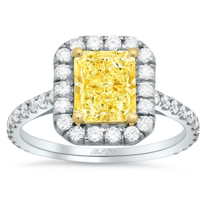 Yellow Diamond Halo Engagement Ring for Radiant Cut Yellow Diamond Engagement Rings deBebians