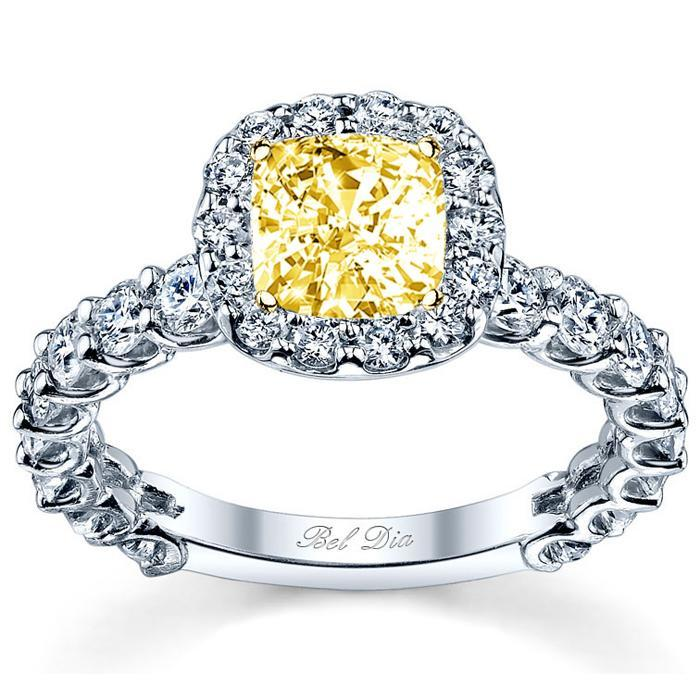 Yellow Diamond U-Prong Halo Engagement Ring Yellow Diamond Engagement Rings deBebians