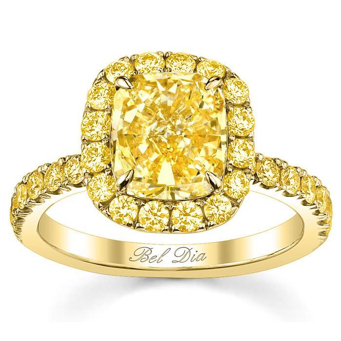 Yellow Canary Engagement Ring With Diamond Halo