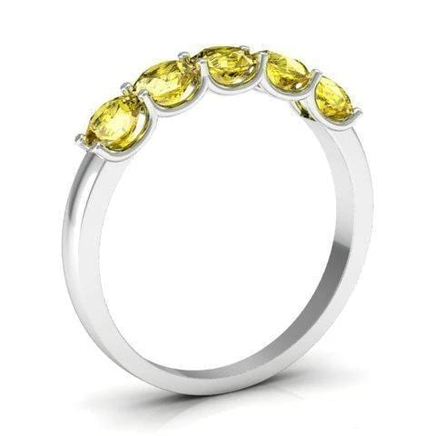 1.00cttw U Prong Yellow Sapphire Five Stone Band Five Stone Rings deBebians