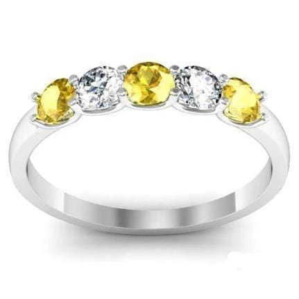 0.50cttw U Prong Gold Yellow Sapphire and Diamond Five Stone Band Five Stone Rings deBebians