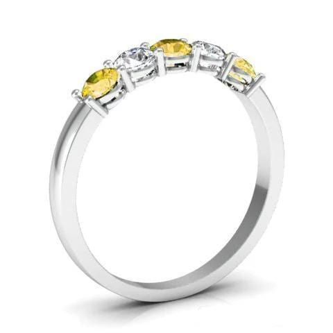 0.50cttw Shared Prong Yellow Sapphire and Diamond Five Stone Ring Five Stone Rings deBebians