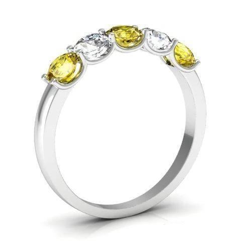 1.00cttw U Prong Yellow Sapphire and Diamond Band Five Stone Rings deBebians