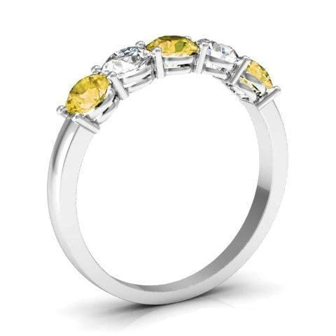 1.00cttw Shared Prong Yellow Sapphire and Diamond Ring Five Stone Rings deBebians