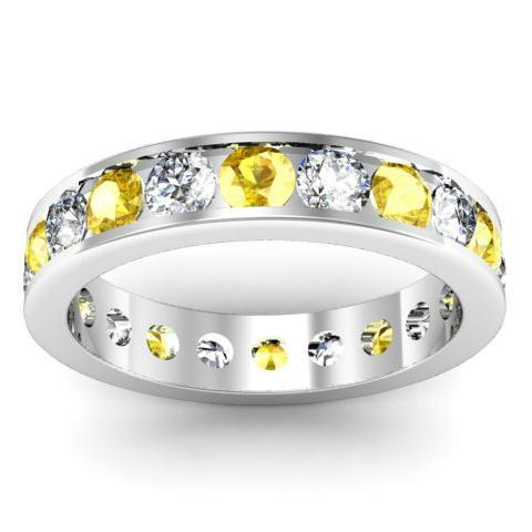 Yellow Sapphire and Diamond Round Gemstone Eternity Ring in Channel Setting Gemstone Eternity Rings deBebians